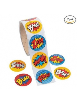 Superhero Sticker Roll - 200 Stickers by Party Supplies