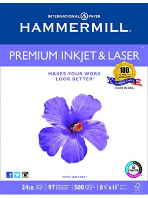Hammermill Paper, Premium Ink & Laser Poly Wrap, 24lb, 8.5x11, Letter, 97 Bright 500 Sheets/1 Ream (166140R), Made In The USA