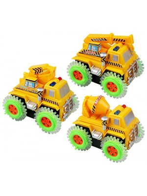 Kiddie Play Battery Operated Stunt Tumbling Construction Vehicles Toys for Kids, Cement Mixer Truck, Excavator and Crane, 3 Piece