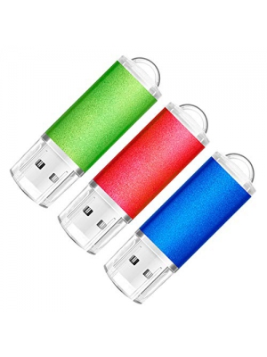 SumDuta 3 Pack 32GB USB 2.0 Flash Drive Thumb Drives Memory Stick Jump Drive Zip Drive, 3 Colors: Blue Red Green