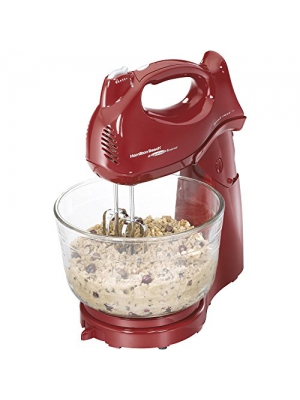 Hamilton Beach Power Deluxe 4-Quart Stand Mixer,Red