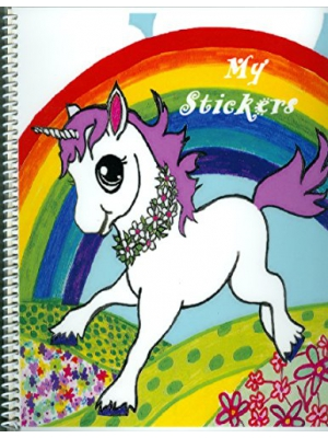 "Cute Baby Unicorn ""My Stickers"", Larger (9x11.25"") Sticker Collecting Album, Re-usable"
