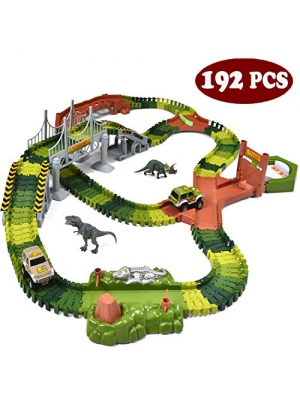 JOYIN Dinosaur World 192 Pieces Race Tracks Flexible Train Track Race Car Vehicle Playset with 2 Battery Powered Race Cars and 2 Dinosaur Actions Figures (205 Piece in Total)