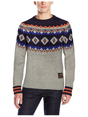 Scotch & Soda Men's Crew-Neck Sweater in Fairisle Knit with Contrast Stripes At Cuffs