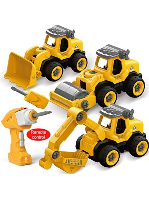 FUN LITTLE TOYS RC Take Apart Construction Truck Toys with Electric Drill for Kids, Remote Control Construction Vehicles Including Bulldozer, Excavator & Road Roller, Educational Toys for Kids