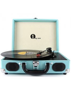 1byone Belt-Drive 3-Speed Portable Stereo Turntable with Built in Speakers, Turquoise