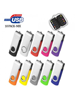 32GB Flash Drive 10 Pack, USB Flash Stick with Easy-Storage Bag ARETOP Pen Drive Gig Stick Memory Stick USB2.0 Pendrive 32GB Thumb Drives for Fold Date Storage (10 PCS - 10 Mix-Colors)