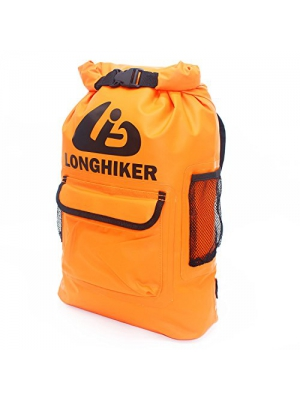 LONGHIKER Waterproof Backpack Dry Bags-Padded Shoulder Straps - Mesh Side Pockets-Easy Access Front Pocket