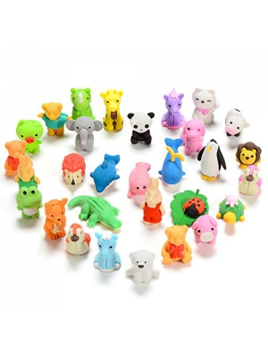 FunsLane Animal Erasers for Kids Japanese Puzzle Eraser Cute Take Apart Mini Toys Fun Pencil Adorable Randomly Selected Zoo Animal Collection Set Best Educational Gift Novelty Party Favors 30 Pcs