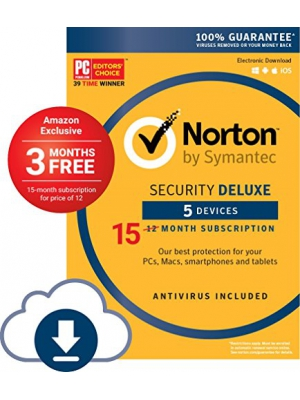 Norton Security Deluxe - 5 Device [Amazon Exclusive - 15 Month] [Download Code]