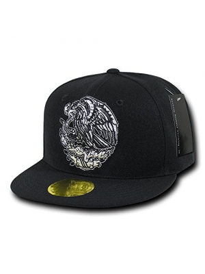 Nothing Nowhere Flat Bill Mexico Eagle Cap, Black