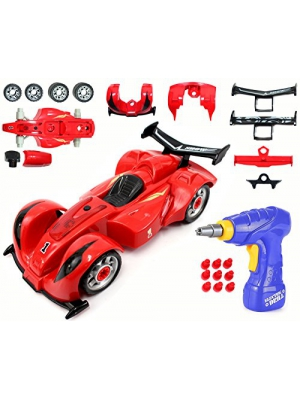 CoolToys Custom Take-A-Part Race Car Set – Includes Electric Drill and Car Parts with Lights and Sounds (24 Pieces)