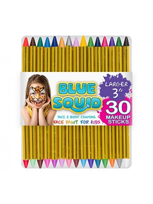"Blue Squid Face Paint Crayons for Kids, 30 Jumbo 3.25"" Face & Body Painting Makeup Crayons, Safe for Sensitive Skin, 6 Metallic & 24 Classic Colors, Great for Birthday Party"