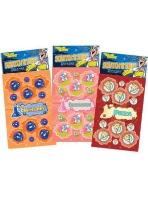 Dr. Stinky's Scratch N Sniff Stickers 3-Pack- Pizza, Blueberry, Bubblegum 81 stickers