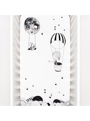 Rookie Humans 100% Cotton Sateen Fitted Crib Sheet: Frieda and the Hot Air Balloon. Complements Modern Nursery, Use as a Photo Background for Your Baby Pictures. Standard crib size (52 x 28 inches).