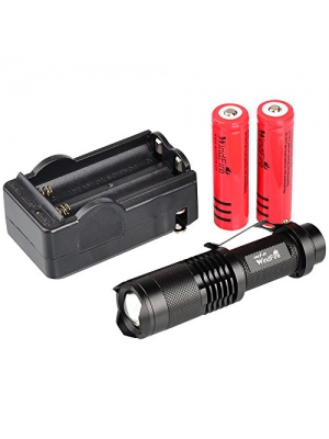 WindFire CREE XML-T6 U2 LED 1800 Lumens ZOOMABLE 5 Modes Flashlight Torch Lamp Mini 18650 Flashlight Torch (Black Flashlight with 2 Batteries and Charger)
