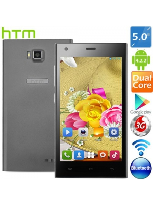 "HTM H3-2W Smart Phones 5.0"" Capacitive Screen MTK6572 2-Core Android 4.2.2 Unlocked Phone 2MP CAM 512MB RAM 4GB ROM 3G - Black"