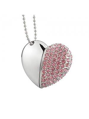 Kootion Heart-Shape Pendant USB Flash Drive, Cordiform USB2.0 Memory Stick, Drive for Photos&Videos, 32G, Pink
