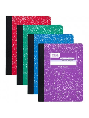 Mead Composition Book, Wide Ruled, 100 sheets, 9-3/4 inch x 7-1/2 inch, Assorted Colors