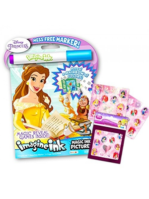 Disney Princess Imagine Ink Book and Sticker Book Set (2 Books and Mess Free Marker)