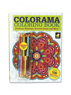 Colorama Coloring Book for Adults with 12 Colored Pencils, Create Something Wonderful & Relax