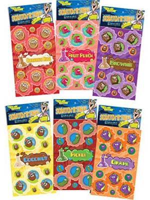 Dr. Stinky's Scratch N Sniff Stickers 6-Pack- Fruit Punch, Brownie, Pickle, Grape, Cinnamon Roll, Coconut 162 Stickers