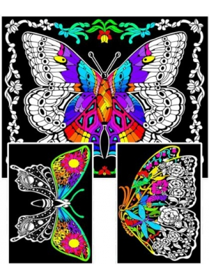Geo Butterfly - 23x20 Fuzzy Velvet Coloring Poster