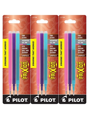 Pilot Refills for Frixion Erasable Gel Ink Pens, Fashion Assorted, Pack of 9 (77336)
