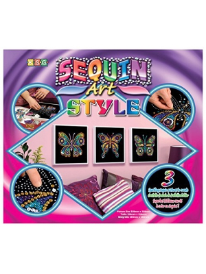 Sequin Art Style, Three Butterflies, Sparkling Arts and Crafts Picture Kit, Creative Crafts