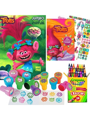 Dreamworks Trolls Coloring and Stamper Activity Book Set - Include 1 Coloring Book (96 pages) , 295 Stickers, 24 Crayola Crayons and 12 Stampers by Trolls Toys