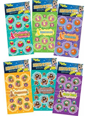 Dr. Stinky's Scratch N Sniff Stickers 6-Pack- Chocolate, Rootbeer, Pineapple, Orange, Watermelon, Lemonade 162 Stickers
