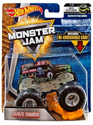 Hot Wheels Monster Jam 2018 Nite Glo Cage Grave Digger (Includes Re-Crushable Car) 1:64 Scale