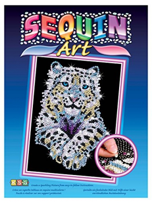 Sequin Art Blue, Snow Leopard, Sparkling Arts and Crafts Picture Kit; Creative Crafts for Adults and Kids