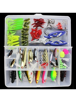 гЂђBest DealsгЂ'OriGlam 101PCS Fishing Lure Set Kit Fishing Tackle Lots,Portable Fun Fishing Baits Kit Set for Saltwater and Freshwater With Tackle Box