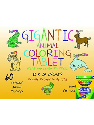 Debra Dale Designs Gigantic Animal Preschool Coloring Book for Toddlers + 8 Crayola Large Washable Crayons - Great Birthday Or Holiday Gift for Toddlers Package - Keep Toddlers Entertained for Hours!
