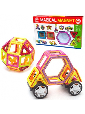 Magnetic Tile Building Set - 40 Piece Kit with Wheels, Educational Toys that Teach Colors, Shapes, and Patterns; Build Cars and Trucks for Boys or Castles for Girls, Fun for Toddlers to Teens