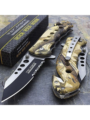 "7.75"" Tac Force Camo Spring Assisted Tactical Folding Knife Blade Pocket Open"""