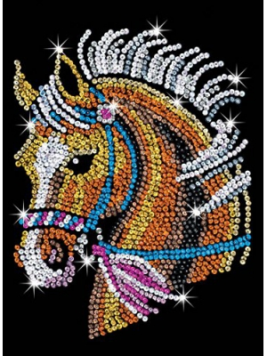 Sequin Art Blue, Horse, Sparkling Arts and Crafts Picture Kit; Creative Crafts for Adults and Kids