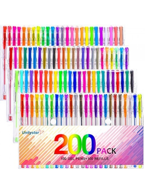 Gel Pen,UnityStar 200 Colored Gel Pens Set for Adults Coloring Books, with 100 Assorted Unique Colors & 100 Ink Refills Drawing Painting Writing