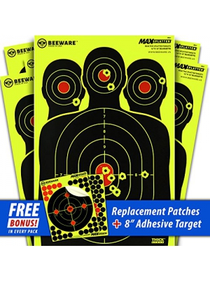 BEEWARE Targets (THICKER - BRIGHTER - BETTER) 12x18 Silhouette Fluorescent Reactive Splatter Targets for Shooting Indoor/Outdoor Ranges