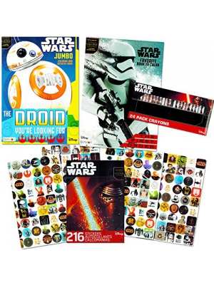 Star Wars Coloring Book Ultimate Set with Stickers and Crayons (2 Coloring Books, 216 Stickers, 24 Crayons)