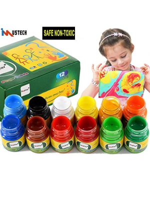 iMustech Washable Finger Paints, Kid's Finger Paint Set, Finger Paint Non Toxic, Fingerpaint Kit,Color Wonder Finger Paints, Art Supplies,Painting for Toddlers and Kids,12 Bottles (30 ml)