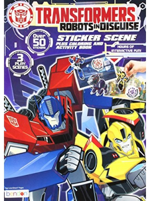 Bendon Transformers Sticker Scene Plus Coloring and Activity Book, 24 Pages (40920)