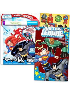 Justice League Imagine Ink Coloring Book Set -- 1 Mess-Free Book, 1 Coloring Book, Stickers, Mess Free Marker