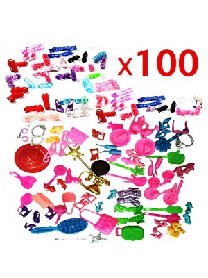 ZHIHU 100pcs High Different barbie accessories for Barbie doll Xmas Gift (High Heel Shoes + accessories)