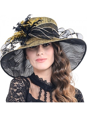 Womens Glitter Embellished Kentucky Derby Church Wide Brim Hat S041