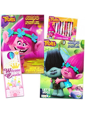 Dreamworks Trolls Coloring and Activity Book Set -- 2 Books, Trolls Crayons, Licensed Bookmark