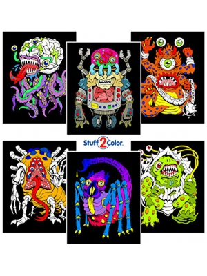 Monsters - 6 Pack of 8x10 Inch Fuzzy Velvet Coloring Posters