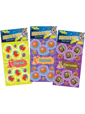 Dr. Stinky's Scratch N Sniff Stickers 3-Pack- Orange, Gummi Bear, Brownie 81 Stickers