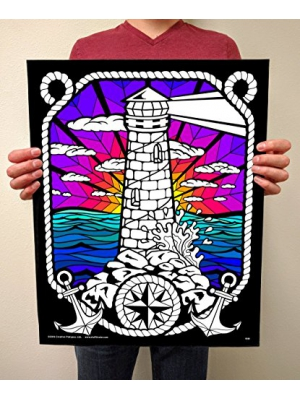 Lighthouse - Fuzzy Velvet Detailed Coloring Poster 16x20
